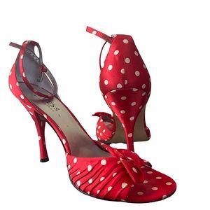 Marciano polka dot satin bow pinup heels